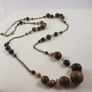 Lia Sophia wooden bead long Necklace